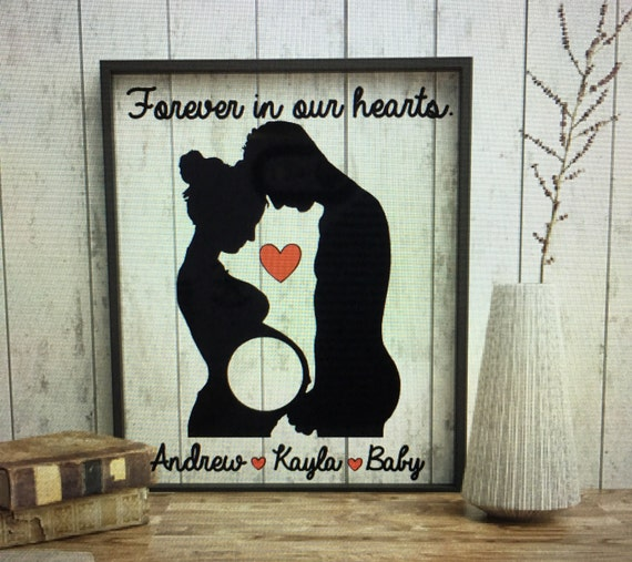 Sonogram picture frame, Expectant mother gifts, expectant mother silhouette frame, ultrasound frame, mom and dad, pregnancey gift for men