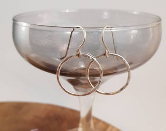 Handmade earrings with fused fine silver and sterling silver earhooks, Circles, hoops