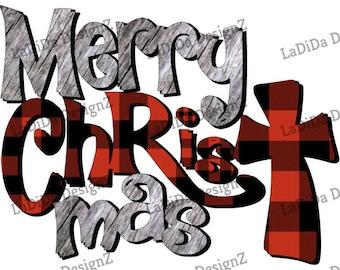 Merry Christ Mas Buffalo Plaid Wood Sublimation Transfers Merry ChrisTmas Grey Wood