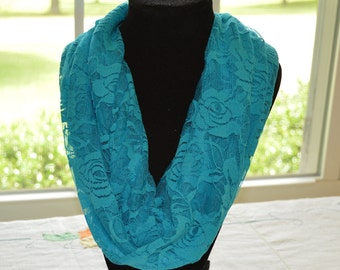 Turquoise Infinity Scarf women's ladies roses lace   gift for her   fashion accessory   loop scarf   polyester scarf   lace scarf