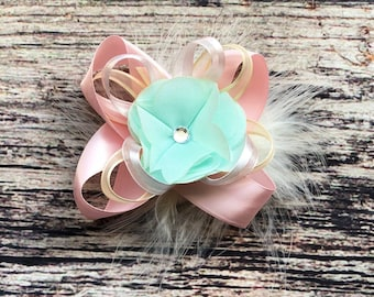 Stacked Ribbon Flower Bow with Feather - Baby Bows and Headbands - Baby Headbands - Baby Girl Headbands - Headbands for Baby Girls - Bows
