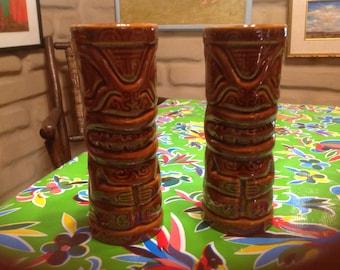 Vintage ceramic pair of  Tiki mugs- souvenirs of Royal Lahaina Resort, Maui, Hawaii