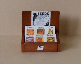 Miniature Seed Display~Miniature Seed Packets with Rack~Miniature Seeds~Miniature Garden~Dollhouse Miniature Seed Display
