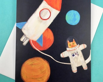 Explorer cat in space - greetings card