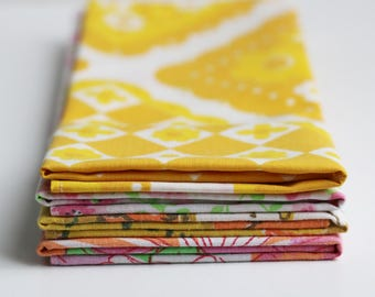 Fabric Napkins, Cloth Napkins, Reusable Napkin Set, Vintage Pinks and Yellows, Handmade by Knotted Nest