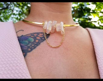 Quartz chokers crystal necklace Goldplated - trendy - jewellery - circle - geometric - statement piece