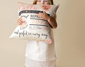 Personalized Birth Stats Pillow; Birth Announcement Pillow, pillow cover, present, baby gift, nursery pillow, newborn, throw, cushion cover