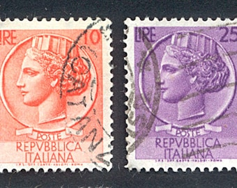 Postage Stamps - Italy - 1950's - Collage, Mixed Media, Artist Trading Cards