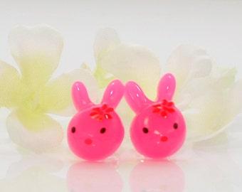 Pink Rabbit Earrings Bunny Jewelry Power of Pink - Kawaii Earrings - Bunny Rabbit Jewelry - Bunny Earrings - Kawaii Jewelry - Post Earrings