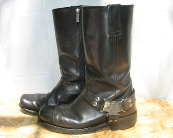 Vintage Men's Black HARLEY-DAVIDSON Leather Rider Biker Boots, 10