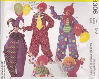 2001 Sewing Pattern - McCall's 3306 Clown Costumes Size 5-6  Uncut, Factory Folded