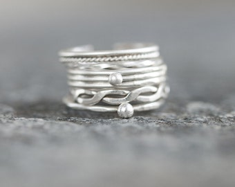 Stack Rings Set of 5 Sterling Silver Simple Stacking Rings Minimalist and Elegant Ethnic Boho Handmade jewelry