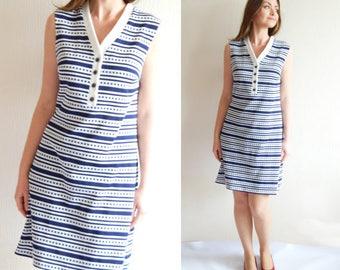 60s Vintage Summer Mod Mini Dress, Twiggy Dress, Sleeveless Shift Dress, Stripes Dress, Scooter Dress Dresses for Women Hippie Clothing M L
