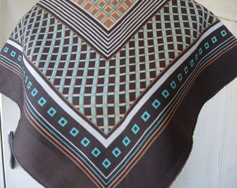 Vintage 1970s polyester scarf geometric brown teal orange 25 x 26 inches