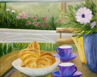 Appetizing croissants, still life painting