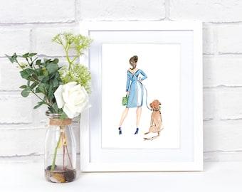 Fashion Illustration - Fashion Print - Bride  - Wedding Art - Dog Art - Watercolor Illustration - Fashion Art - Fashion Wall Decor