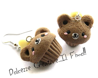 Cupcake earrings, vanilla and chocolate-bear - muffin - miniature polymer clay and cernit - gift idea