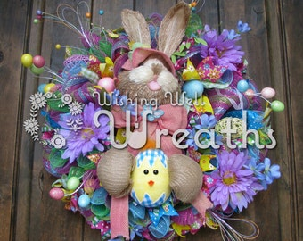 Deco Mesh Easter Bunny Wreath,  Bright Spring Colors Wreath, Bunny Rabbit Wreath, Elegant Easter Rabbit Wreath, Easter Decor for Front Door