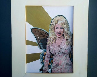 FAIRY Dolly Parton - framed original painting Butterfly Wings