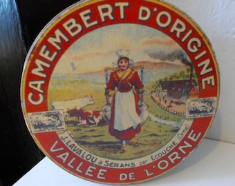 Vintage French Camembert Cheese Tin With Advertising Graphics