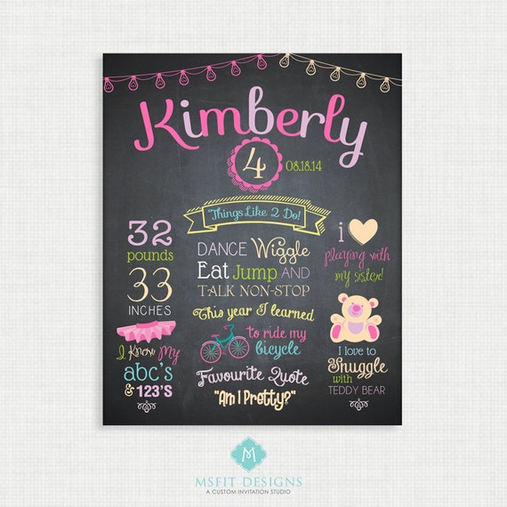First Birthday Chalkboard Sign -11x14 Personalized & Printable - Girl Birthday Chalkboard Poster - Custom Birthday Sign