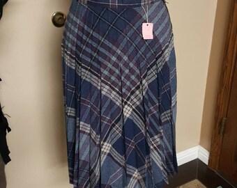 Vintage 1970's Waisted Pleaded Wool Skirt