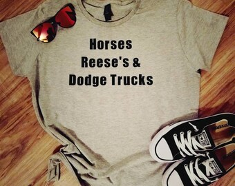 Custom t-shirt Personalized with your 3 favorite things - Heathered Gray Top Shirt Tee Example shown - Horses Reese's and Dodge Trucks
