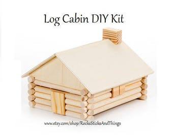 Log Cabin DIY Kit, Kid Crafts, Wood Project
