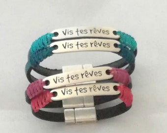 Leather bracelet and macrame, live your dreams, magnetic clasp