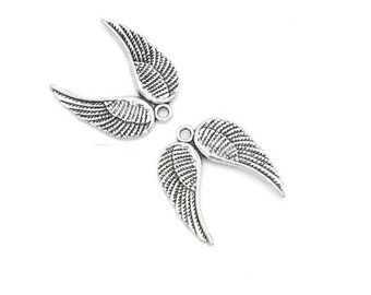 Lot of 6 pieces double angel wing Silver (B79)
