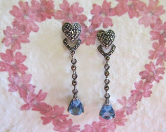 Vintage Marcasite Sterling Earrings with Blue Topaz drops