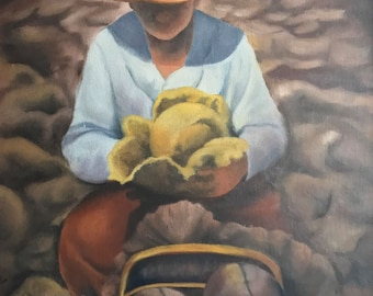 Woman harvesting cabbages - Original art work in Oil technique
