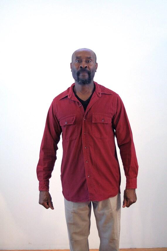 90s ll bean chamois shirt m burgundy chamois shirt ll bean work shirt  vintage work wear distressed work shirt ll bean grunge medium