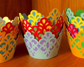 Colorful Scroll Cupcake Wrappers
