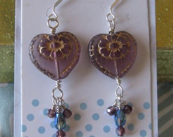 Violet Victorian Heart Earrings with Dangles