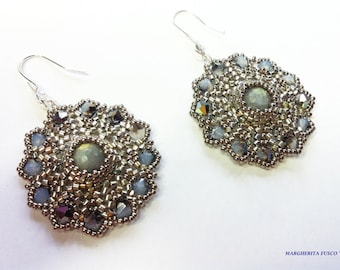 Bead tutorial, Mini Eros earrings pattern with delica beads and swarovski