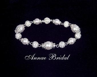 """Bridal pearl, wedding jewelry, White pearl and rhinestone bracelet, Swarovski, silver,  """"Majesty"""" bracelet"""