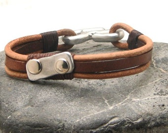 """Leather bracelet gift, Custom Jewelry.Men's leather bracelet Natural leather bracelet with hammered metal work buckle and """"S"""" clasp"""