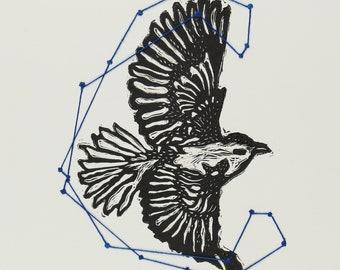 Eagle lino print