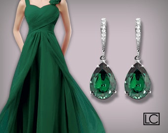 Emerald Crystal Earrings Swarovski Emerald Teardrop Silver Earrings Green Bridesmaid Earrings Wedding Bridal Jewelry Prom Emerald Earrings