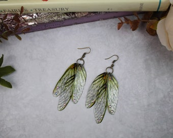 Gossamer Silver and Green Dragonfly/Cicada - Fairy Wing Earrings