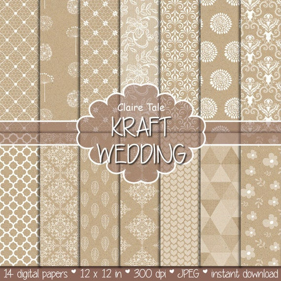 KRAFT WEDDING PAPER background with damask, lace, floral, flowers, hearts, leaves, quatrefoil, dandelions / kraft wedding patterns