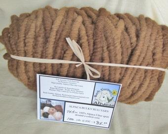 100% Alpaca Bulky Rug Yarn - 100Yards - All Natural - No Dyes - Brown