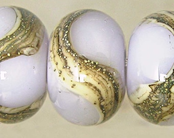 Lampwork Glass Bead Set of 6 11x7mm Silvered Ivory Lavender Sachet