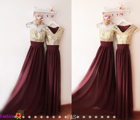 Prom dresssexy burgundy evening dressbridesmaid dresssequin for Burgundy and gold wedding dress