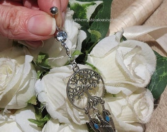 Dream catcher feather naval ring, belly button ring, tree of life jewelry, removeable clasping charm, Interchangeable charm belly barbell