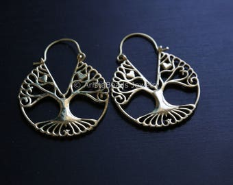 Tree earrings, tree of life earrings, Brass tree of life, Tribal Hoops, Ethnic earrings, Tribal Earrings, filigree earrings