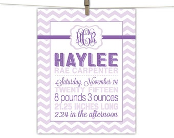 baby girl nursery wall art, lavender nursery decor, birth stats sign, baby stats sign, purple chevron monogram print canvas