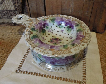 Vintage Gold and Purple Floral Tea Strainer / Antique European Tea Strainer with Stand