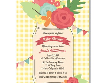 Charming Country Mason Jar Baby Shower Invitation  - Digital File